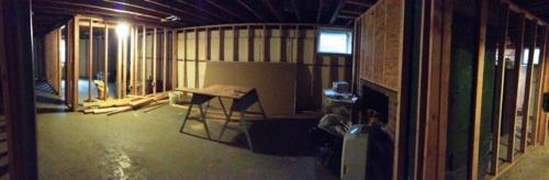 basement renovation before